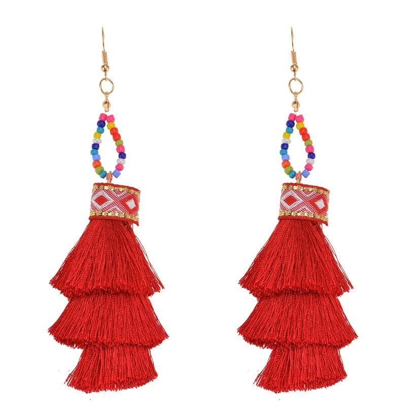 Fashion vintage fringed multi-layer earrings NHWF150952