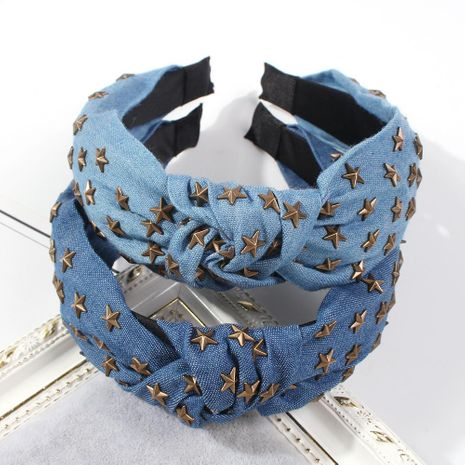 Fashion denim cross knotted fabric headband NHMD150970's discount tags