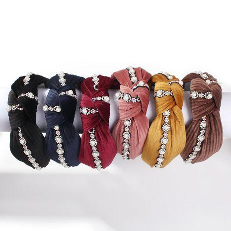 Fashion gold velvet cloth pearl flower headband NHMD150988's discount tags