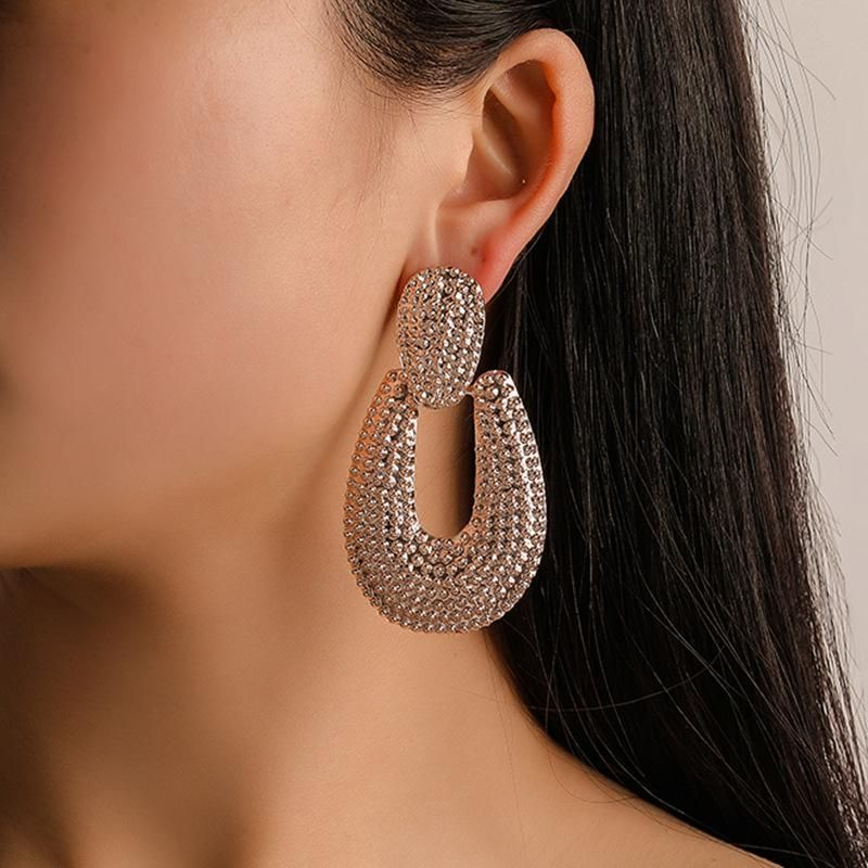 U-shaped alloy plating concave and frosted earrings NHDP151037