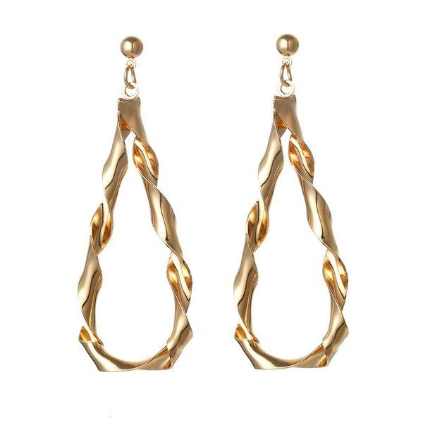 Water drop type metal twisted earrings NHPF151073