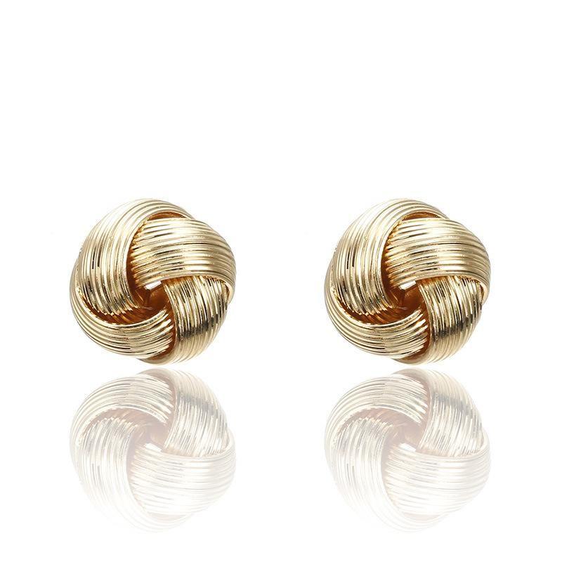 Fashion hollow twist ring stud earrings NHPF151079