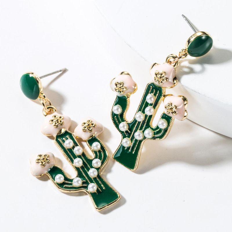 Alloy Drop Oil Cactus Pearl Earrings NHJE151081