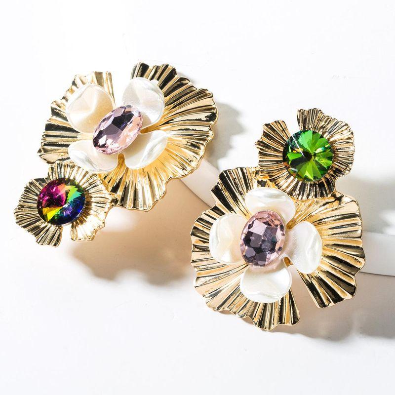 Alloy resin diamond flower earrings NHJE151085