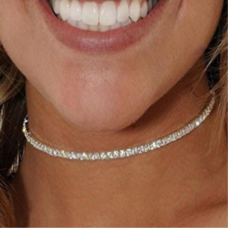 Fashion diamond chain choker NHPF151117