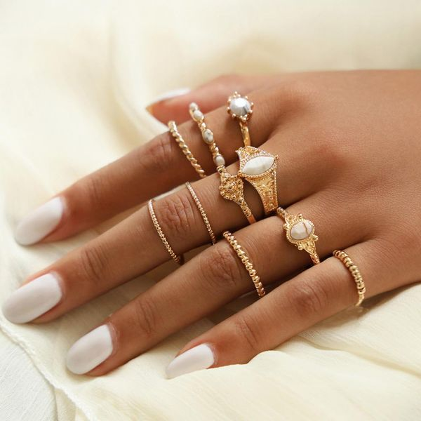 White turquoise retro totem pattern ring set NHPV151150