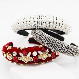 Baroque full diamond handmade pearl headband NHWJ151165's discount tags