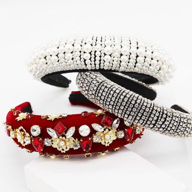 Baroque full diamond handmade pearl headband NHWJ151165