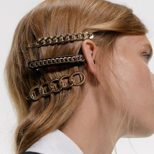 Resin alloy chain hair clip NHJE151173's discount tags