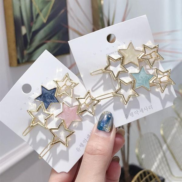 Alloy-studded hair clips stars hollow hairpin NHSM151174