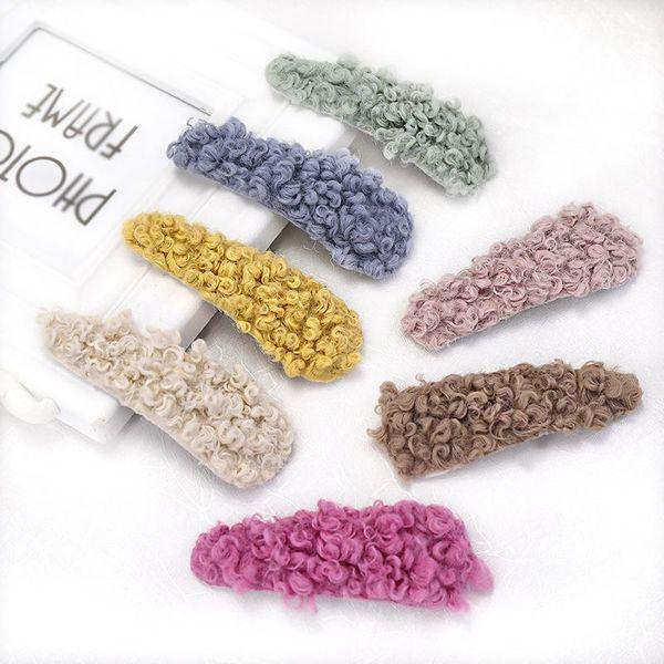 Candy-colored lamb hair drop-shaped BB clip hair clips NHOU151176