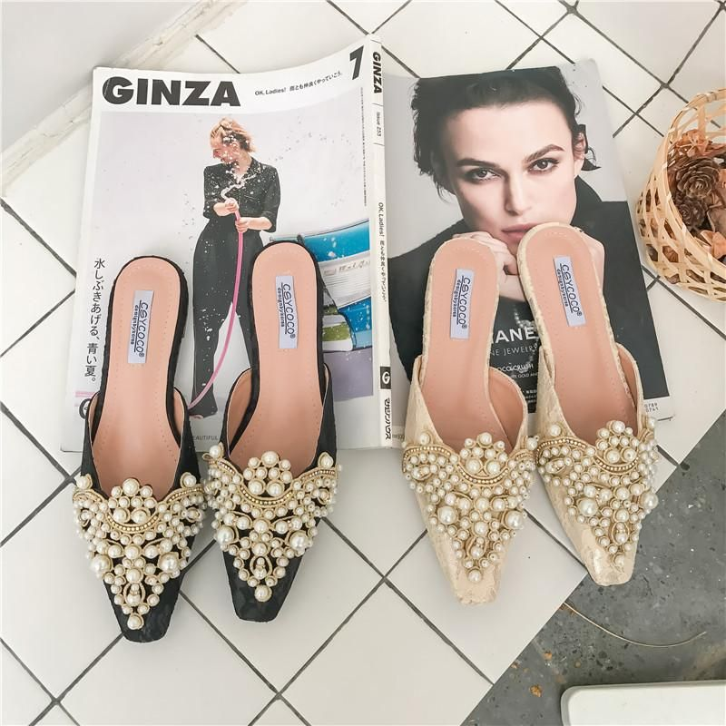 Flat bottom small square beaded bright diamond Baotou drag lace surface flat heel slippers women's shoes NHEH191328