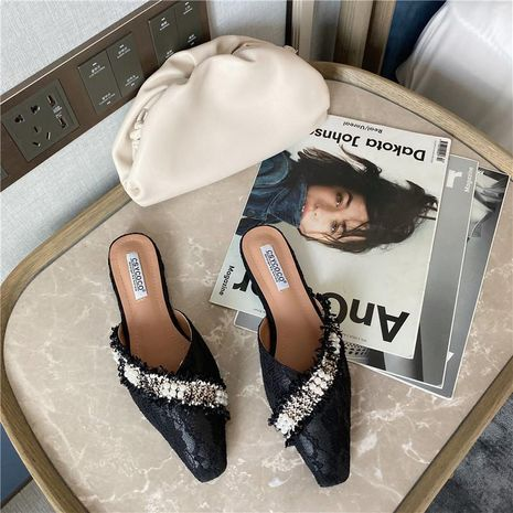 Baotou square head lace beaded fashion wear half drag women's shoes open spring flat drag NHEH191331's discount tags