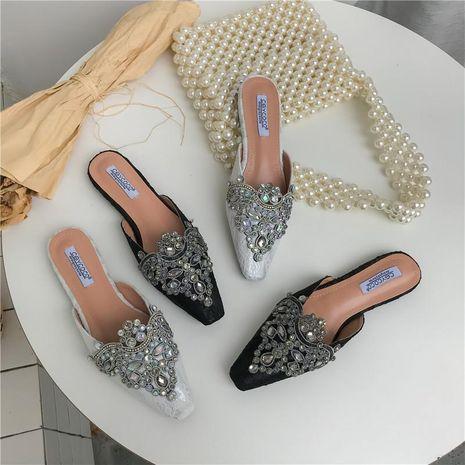Baotou half slippers female new flat small square head beaded rhinestone lazy slippers NHEH191332's discount tags