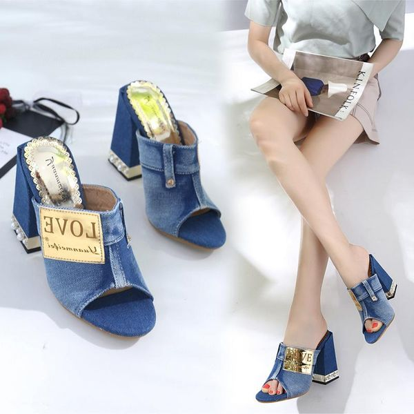 Sandals women's thick heel slippers women's flip-flops high heels patchwork hollow sexy fish mouth shoes NHEH191333