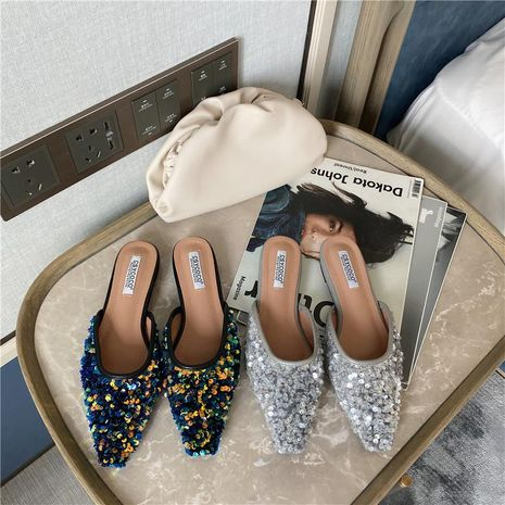 Sequined square Muller women's shoes new Baotou half slippers lazy slippers NHEH191335's discount tags