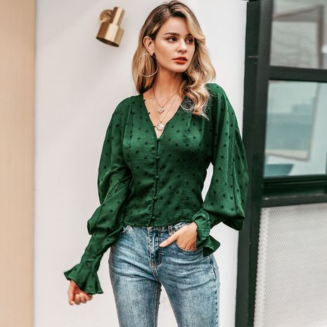 Green satin V-neck shirt wholesale women's clothes NHDE191369's discount tags