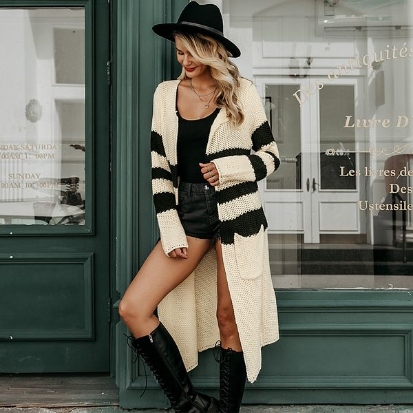 Tricolor knitted long coat coat wholesale women's clothes NHDE191372