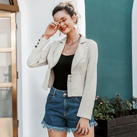 Apricot fashion cotton short coat wholesale women's clothes NHDE191377's discount tags