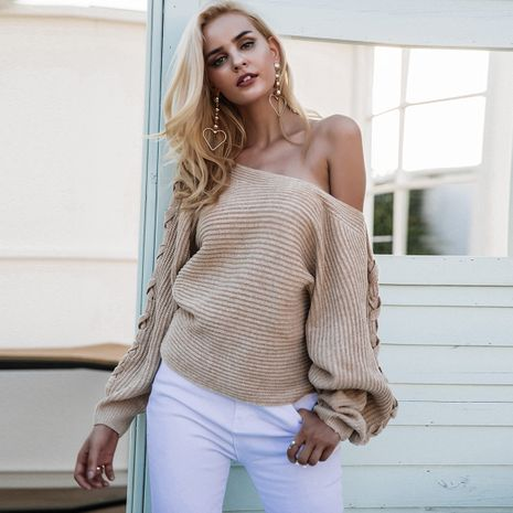 Beige knitted sweaters wholesale women's clothes NHDE191378's discount tags