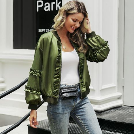 Fashion army green satin coat wholesale women's clothes NHDE191379's discount tags