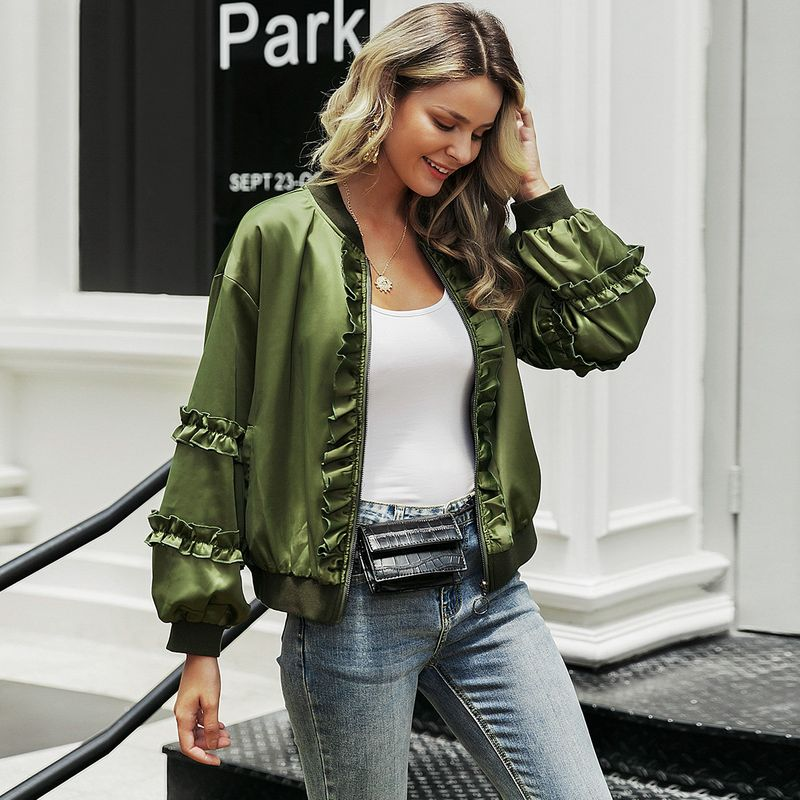 Fashion army green satin coat wholesale women's clothes NHDE191379