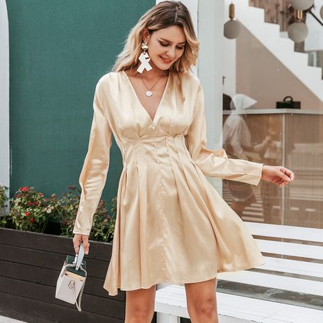 Golden Sexy V-neck Long Sleeve Dress Wholesale women's clothes NHDE191380's discount tags