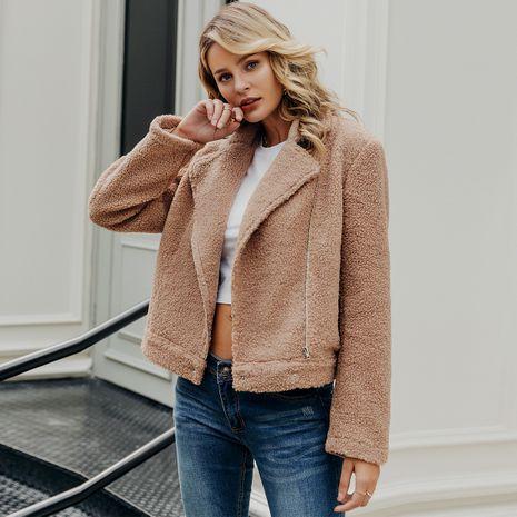 Khaki faux fur coat wholesale women's clothes NHDE191382's discount tags