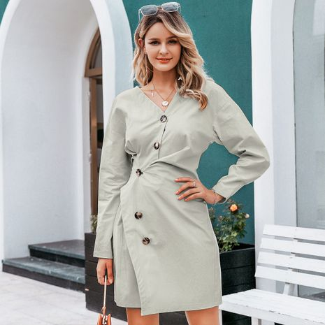 Light gray sweet V-neck dress wholesale women's clothes NHDE191383's discount tags