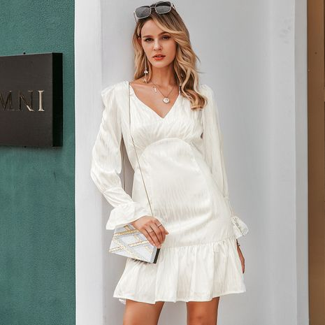 White fashion sexy dress wholesale women's clothes NHDE191384's discount tags