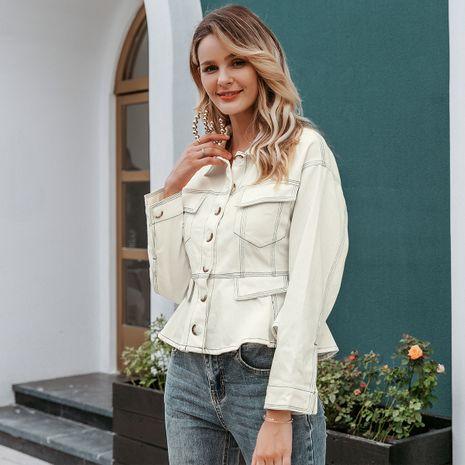 White denim coat wholesale women's clothes NHDE191389's discount tags