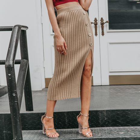 Khaki Split Skirt Wholesale women's clothes NHDE191392's discount tags