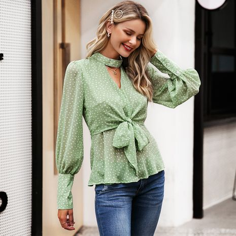 Green lace long sleeve shirts wholesale women's clothes NHDE191396's discount tags