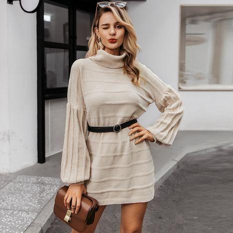 Light apricot turtleneck dress wholesale women's clothes NHDE191399's discount tags