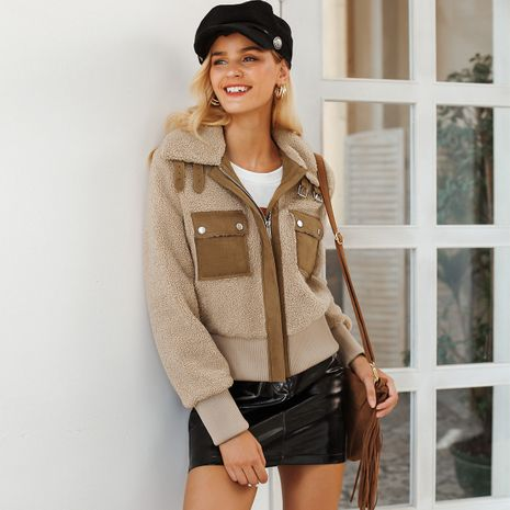 Wholesale women's clothes khaki coat NHDE191403's discount tags