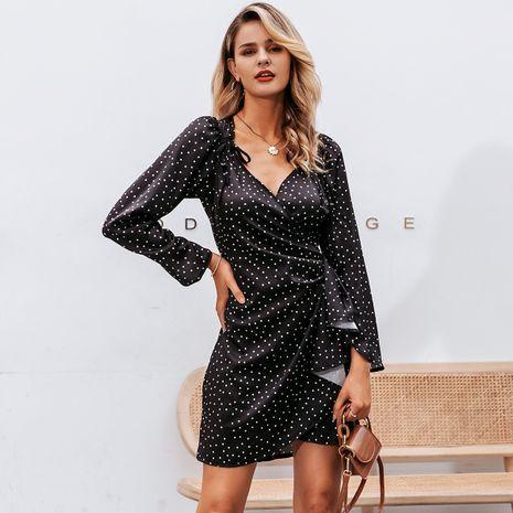 Black V-neck dress wholesale women's clothes NHDE191404's discount tags