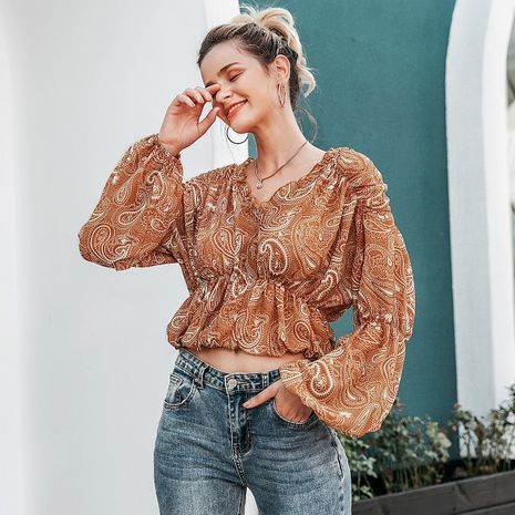 Yellow bottom printed lantern sleeve shirt wholesale women's clothes NHDE191405's discount tags