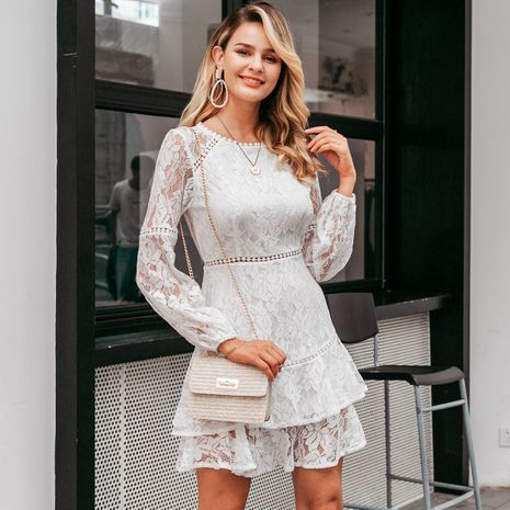 White long sleeve dress wholesale women's clothes NHDE191407's discount tags
