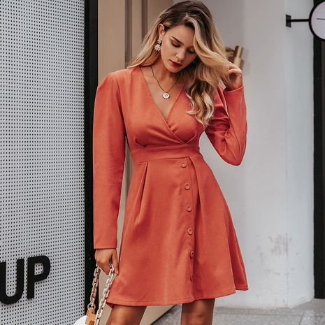 Orange V-neck long sleeve dress wholesale women's clothes NHDE191409's discount tags