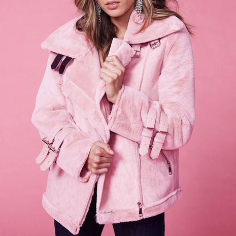 Burgundy sweet rabbit fur coat wholesale women's clothes NHDE191411's discount tags