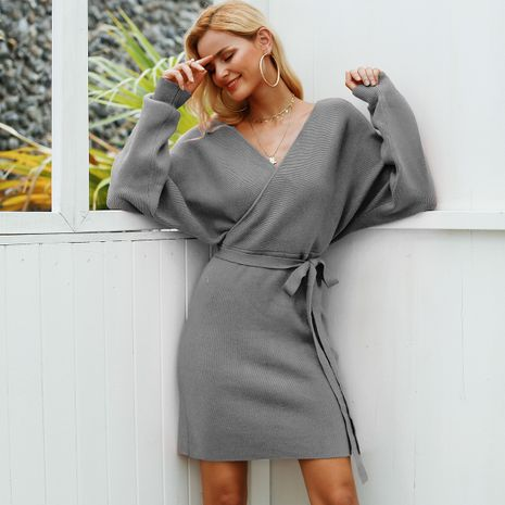 Grey wool V-neck dress wholesale women's clothes NHDE191413's discount tags