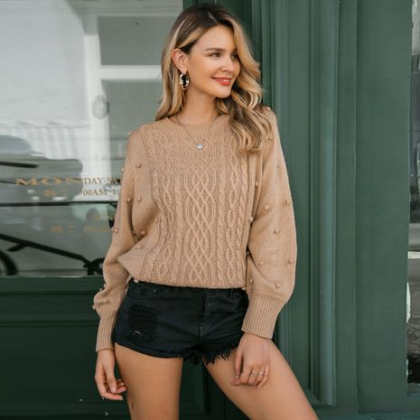 Khaki striped sweater wholesale women's clothes NHDE191414's discount tags