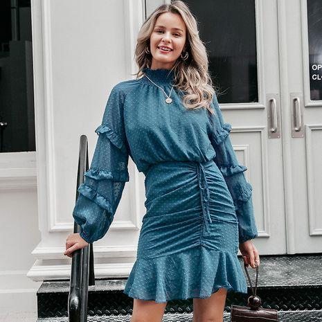 Blue Chiffon Lantern Sleeve Dress Wholesale women's clothes NHDE191420's discount tags
