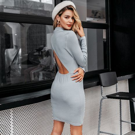 Blue gray sexy open waist dress wholesale women's clothes NHDE191425's discount tags
