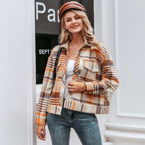 Off-white Orange Plaid Coat Wholesale women's clothes NHDE191426's discount tags