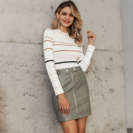 Sweet striped khaki sweater women's clothes wholesale NHDE191427's discount tags