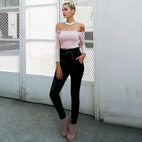 Black skinny pencil pants wholesale women's clothes NHDE191428's discount tags