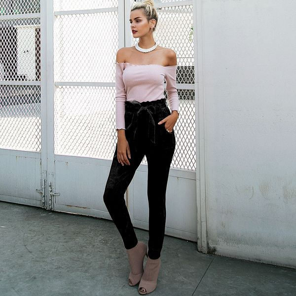 Black skinny pencil pants wholesale women's clothes NHDE191428