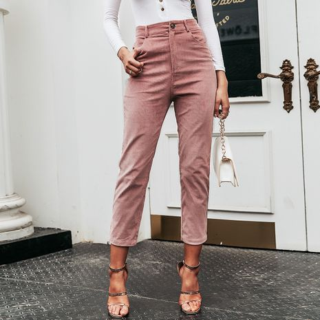 Wholesale women's clothes camel pink cropped pants NHDE191430's discount tags