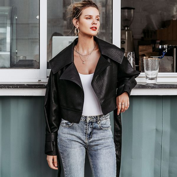 Black leather cool short coat wholesale women's clothes NHDE191432